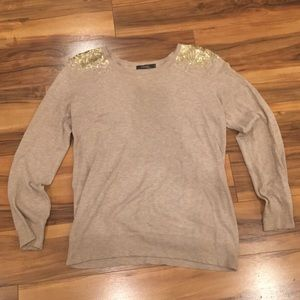 Sweaters - Theme - Gold Sequined Beige Sweater